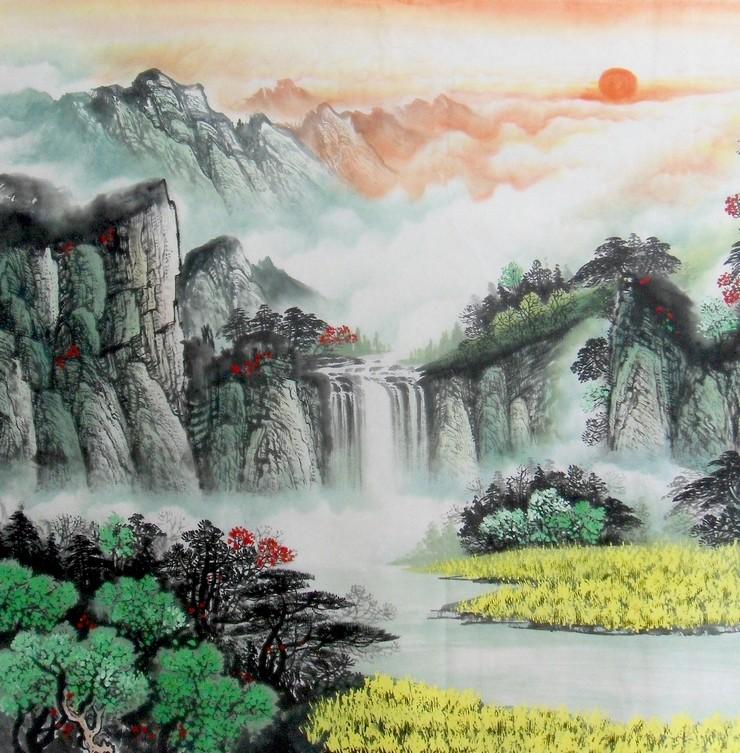 青山绿水 聚宝盆 靠山 山水画 风水 办公室字画 国画 八尺 纯手绘图片,